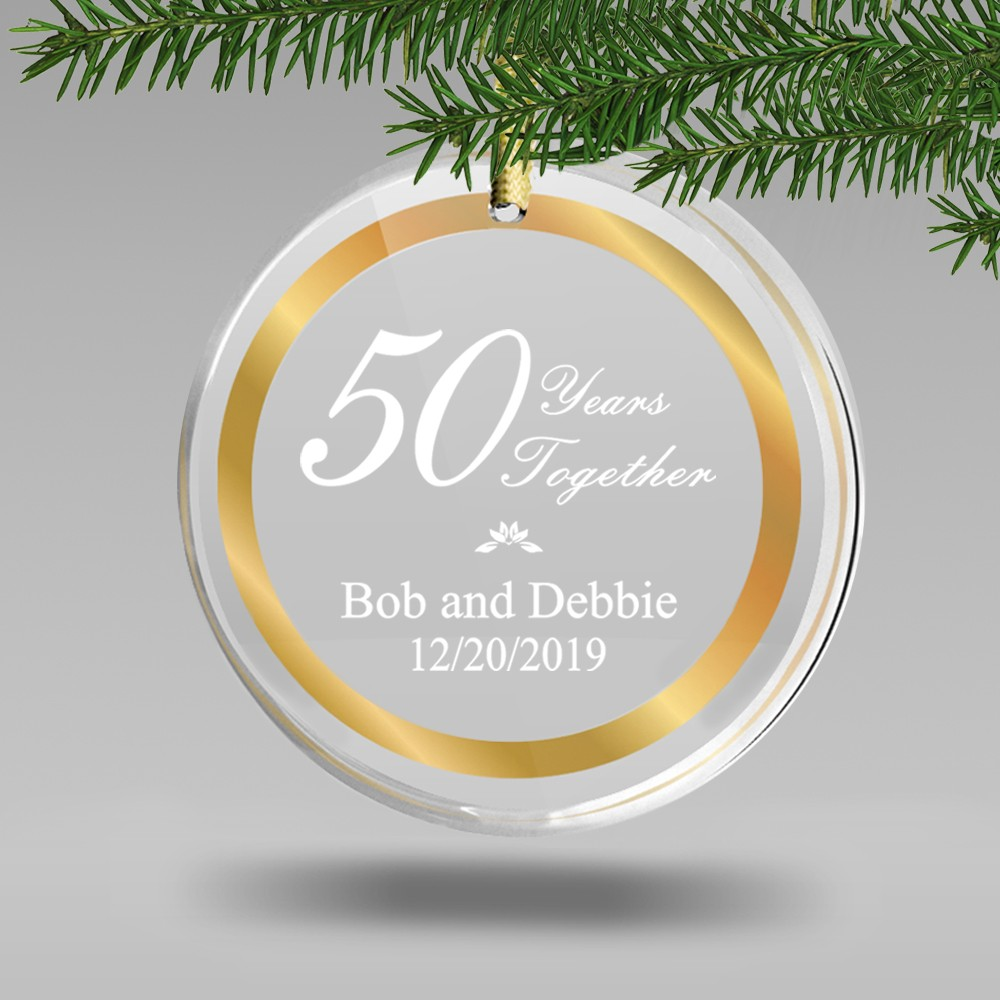 Personalized 50th Wedding Anniversary Round Acrylic Ornament With