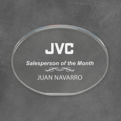 Personalized Acrylic Sales Recognition Oval Award