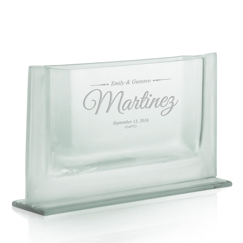 Personalized Anniversary Couples Sleek Jade Glass Vase