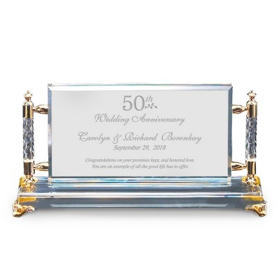 Personalized 50th Anniversary Gold Accent Crystal Plaque