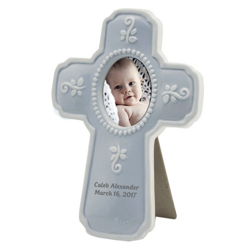 Personalized Baby Blue Ceramic Religious Cross