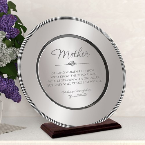 Personalized Beautiful Silver Plate for Mom