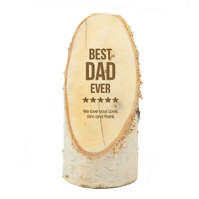 Personalized Best Dad Ever Natural Birch Wood Plaque