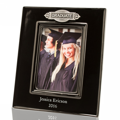 Personalized Black Ceramic Graduation 4x6 Photo Frame