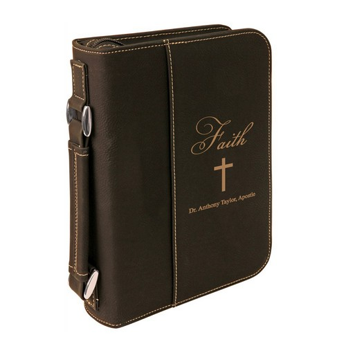 Faith Personalized Black Leatherette Bible Cover with Handle