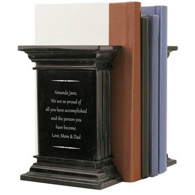 Personalized Black Marble Column Bookends