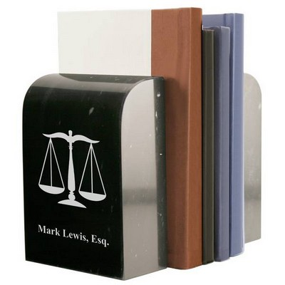 Personalized Black Marble Lawyer Scales of Justice Bookends