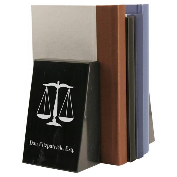 personalized black marble scales of justice bookends
