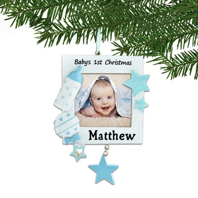 Personalized Blue Baby 1st Christmas Framed Ornament