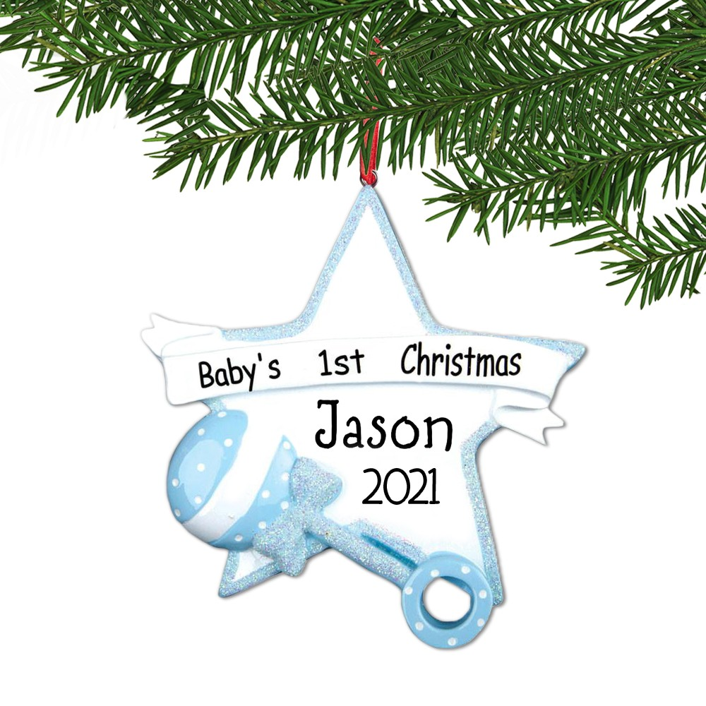 personalized blue baby 1st christmas star ornament