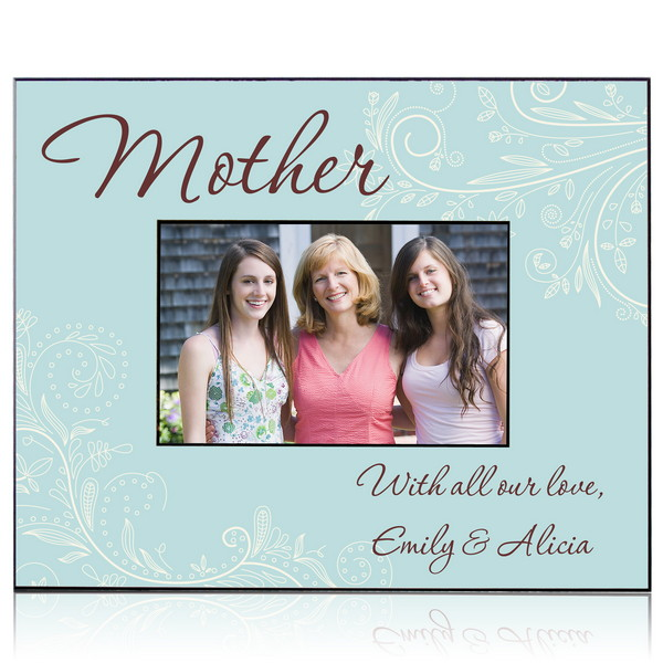 personalized blue floral photo frame for mom - Mom Frame