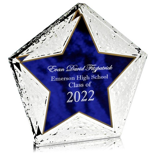 Personalized Blue Star Graduation Plaque