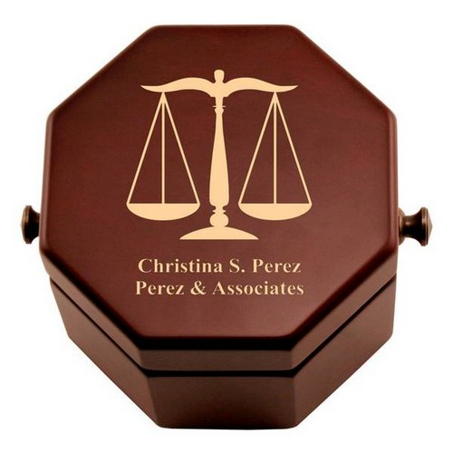 Personalized Scales of Justice Clock in a Box