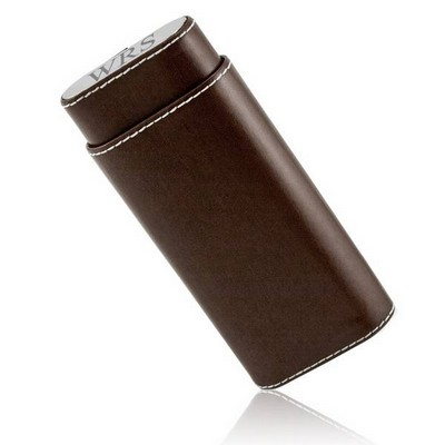 Personalized Brown Leather and Stainless Steel Crush Proof Cigar Case