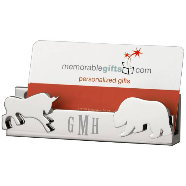 Personalized bull and bear desktop business card holder reheart Images