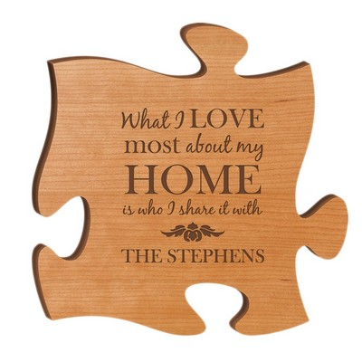 Personalized Cherry Wood 12 inch Puzzle Piece Wall Art