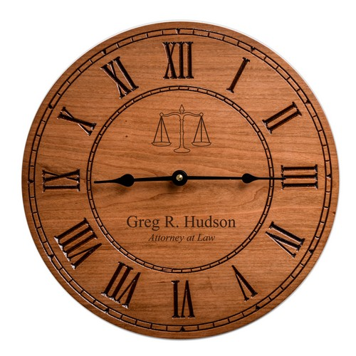 Quality Personalized Cherry Wood 12 inch Wall Clock for Lawyers