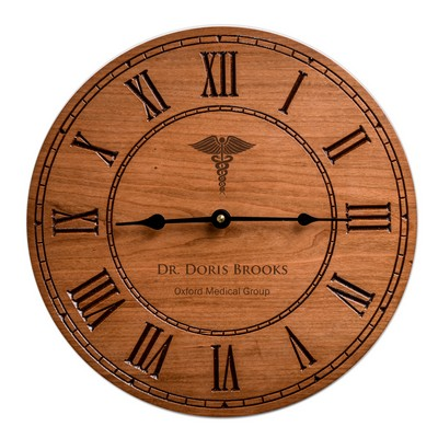 Quality Personalized Cherry Wood 12 inch Wall Clock for Doctors