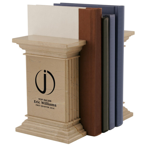 Personalized Corporate Logo Natural Column Marble Bookends
