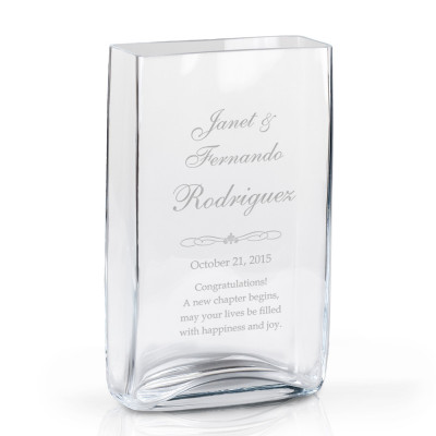 Personalized Couples Anniversary Rectangular Glass Vase