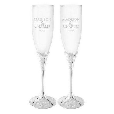 Personalized Couples Crystal Toasting Flutes
