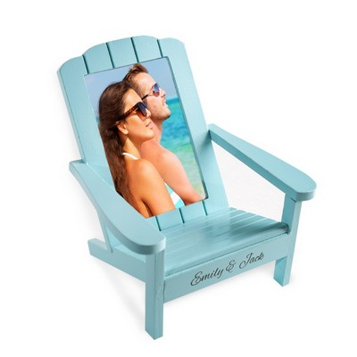 Personalized Couples Love 4x6 Photo Turquoise Wood Chair Frame