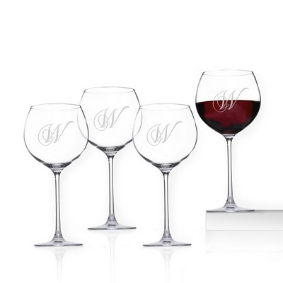 Personalized Crystal 4-piece Beaujolais Wine Glass Set