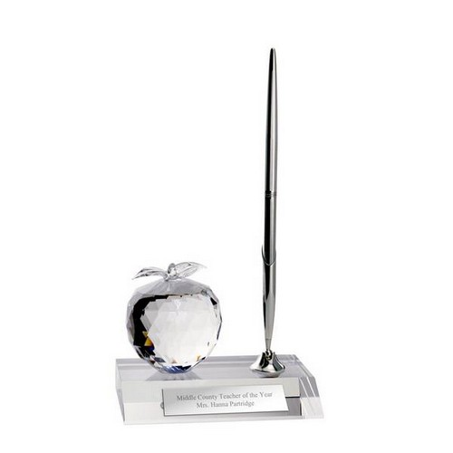 Personalized Crystal Apple Desktop Pen Stand