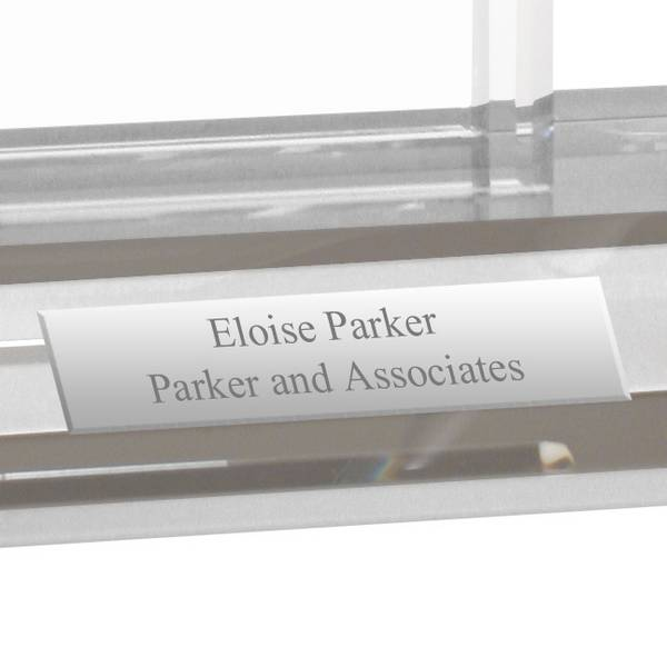 Personalized crystal desktop business card holder engraved crystal personalized crystal desk business card holder with pen colourmoves Images