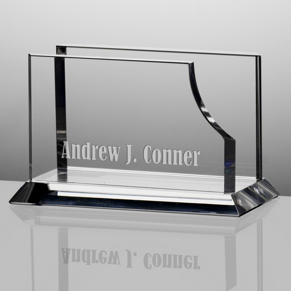 Personalized crystal desktop business card holder colourmoves