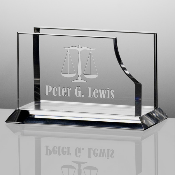 Personalized crystal desktop business card holder for lawyers colourmoves