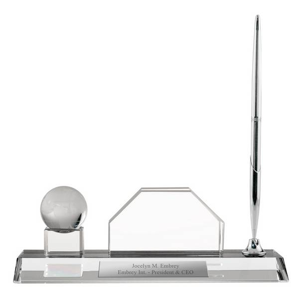 Personalized crystal desktop business card holder with globe personalized crystal desktop business card holder with globe colourmoves