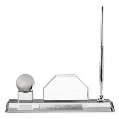 Personalized Crystal Desktop Business Card Holder with Globe