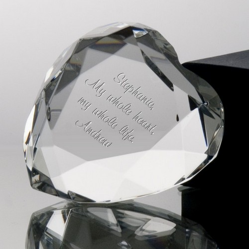 Personalized Crystal Heart Paperweight