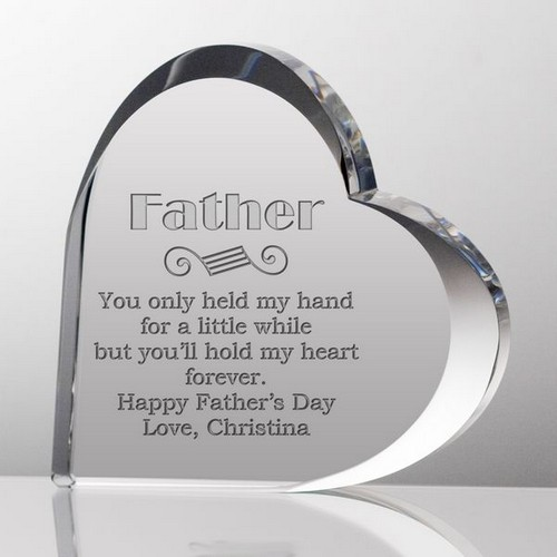 Personalized Crystal Heart for Dad