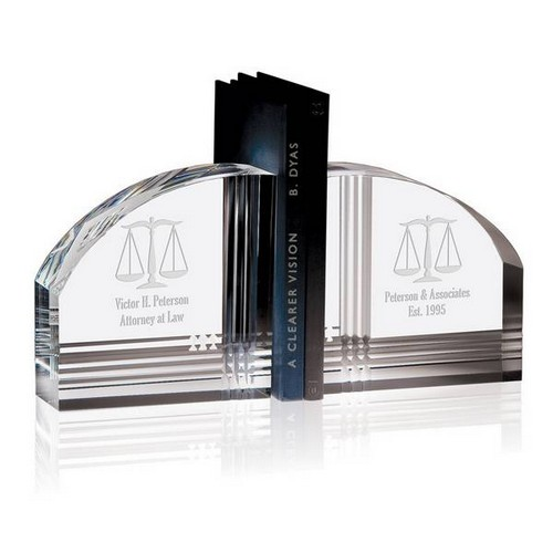 Personalized Crystal Legal Bookends