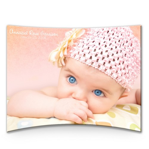 "Personalized Curved Acrylic 8"" x 10"" Panel for Baby"
