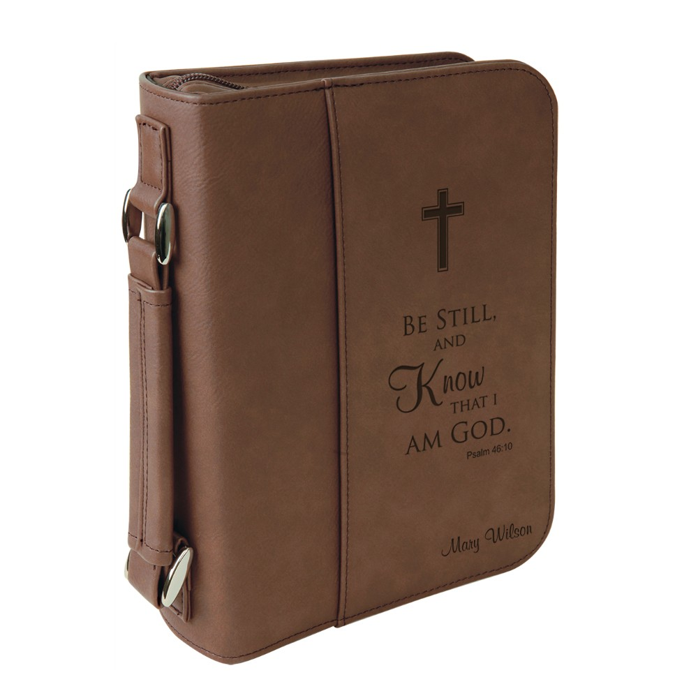 Personalized Dark Brown Leatherette Bible Cover With Handle