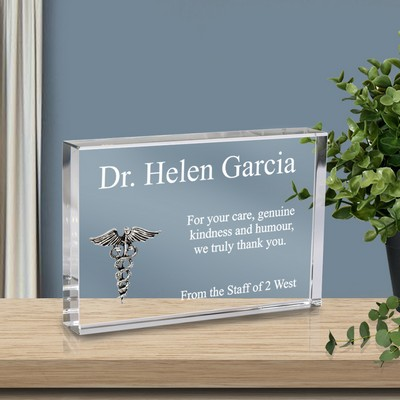 Personalized Doctor Thank You Crystal Plaque with Silver Caduceus