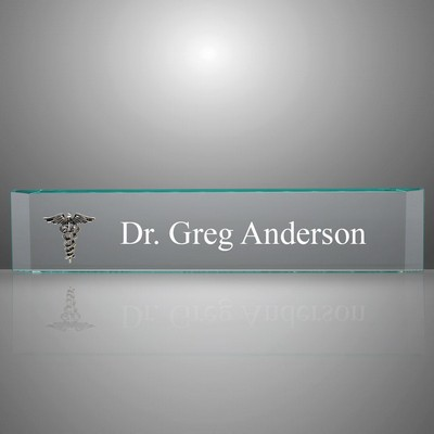 Personalized Doctors Glass Desk Name Plate with Silver Caduceus