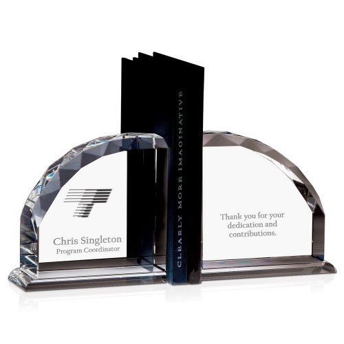 Personalized Executive Crystal Facet Bookends
