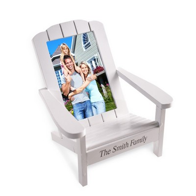 Personalized Family 4x6 Photo White Wood Chair Frame