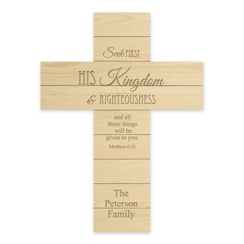 Personalized Family Natural Pine Wood Wall Cross