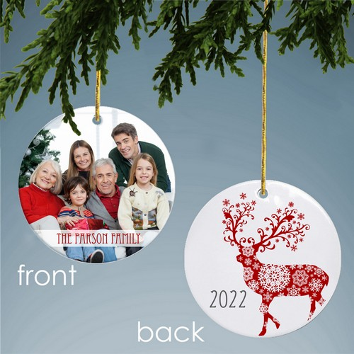 Personalized Family Reindeer Photo Ornament