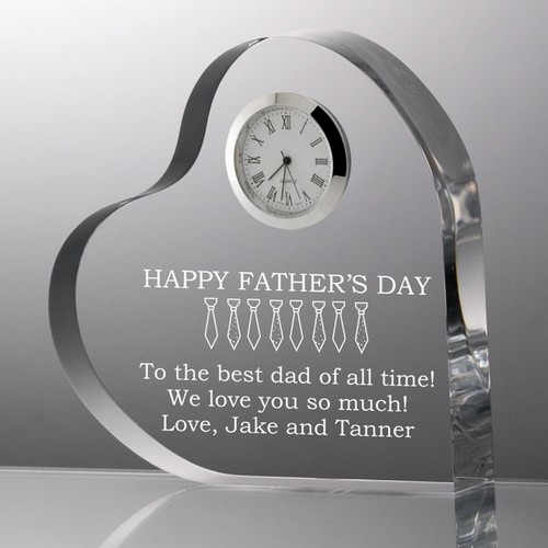 Personalized Fathers Day Heart with Clock