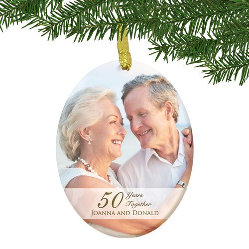 Personalized Glass 50th Anniversary Couples Photo Ornament