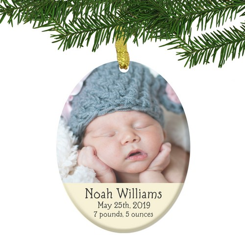 Personalized Glass Baby Birth Photo Ornament