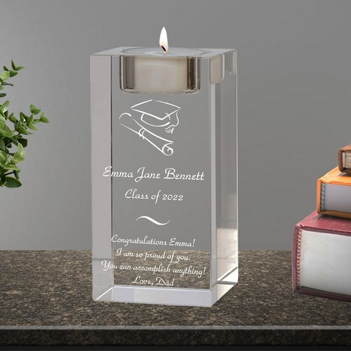 Personalized Glass Candle Holder Graduation Gift