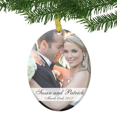 Personalized Glass Couples Wedding Photo Ornament