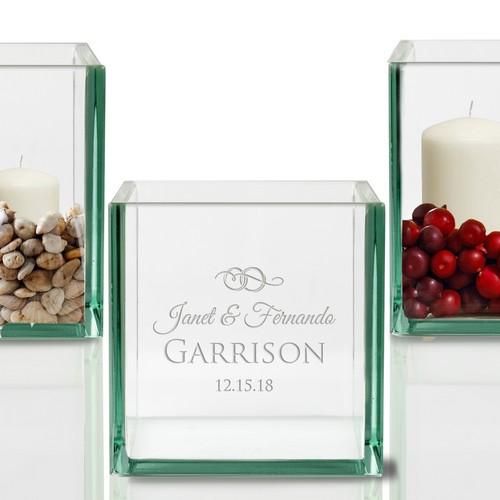 Memorable Personalized Wedding Glass Cube Candle Holder
